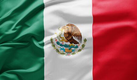 Agitant le drapeau national du Mexique Banque d'images