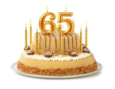Festive cake with golden candles - Number 65