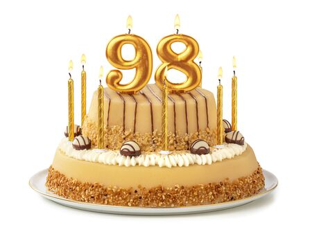 Festive cake with golden candles - Number 98 Banco de Imagens