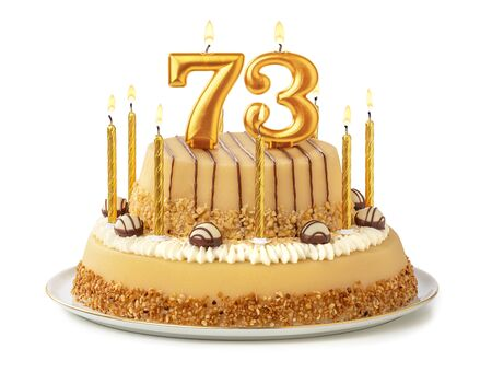 Festive cake with golden candles - Number 73