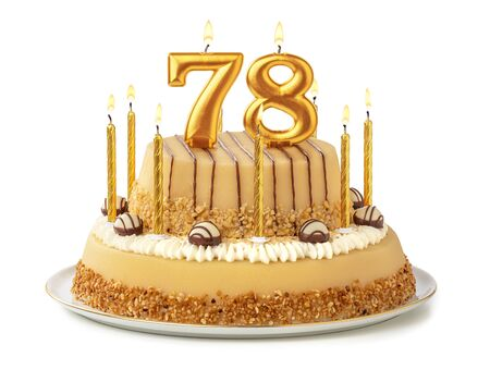 Festive cake with golden candles - Number 78