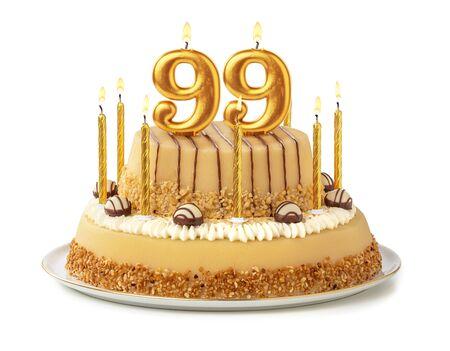 Festive cake with golden candles - Number 99 Standard-Bild - 129322582