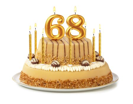 Festive cake with golden candles - Number 68