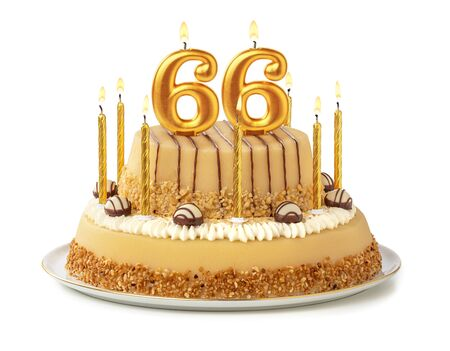 Festive cake with golden candles - Number 66