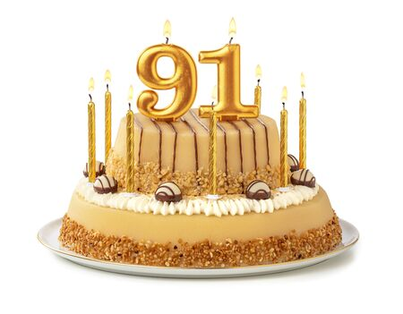 Festive cake with golden candles - Number 91