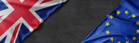 Flags of Great Britain and the European Union with copy space Stok Fotoğraf