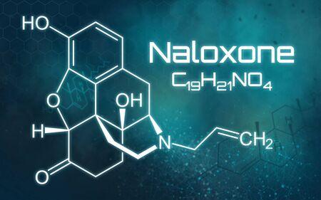 Chemical formula of Naloxone on a futuristic background