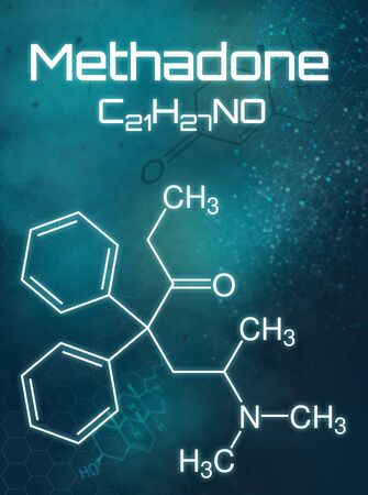 Chemical formula of Methadone on a futuristic background Imagens