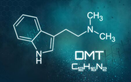 Chemical formula of DMT on a futuristic background