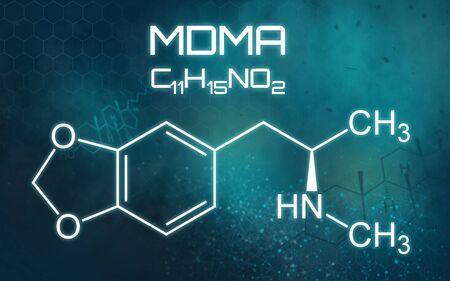 Chemical formula of MDMA on a futuristic background