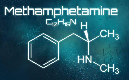 Chemical formula of Methamphetamine on a futuristic background Imagens