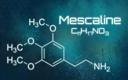 Chemical formula of Mescaline on a futuristic background Imagens
