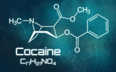 Chemical formula of Cocaine on a futuristic background