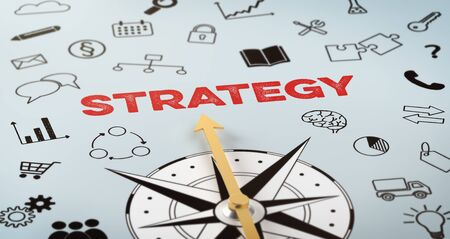 A compass with text and icons - Strategy Stock fotó