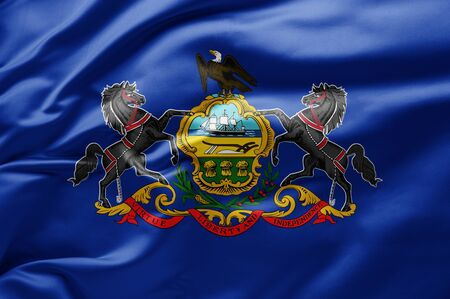 Waving state flag of Pennsylvania - United States of America 스톡 콘텐츠 - 130132143
