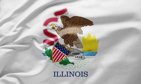 Waving state flag of Illinois - United States of America