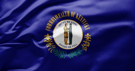 Waving state flag of Kentucky - United States of America 스톡 콘텐츠