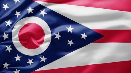 Waving state flag of Ohio - United States of America