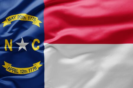 Waving state flag of North Carolina - United States of America 写真素材