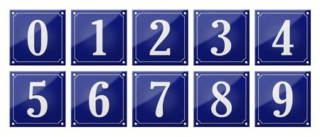 Set of traditional blue enamel signs - Numbers 0- 9