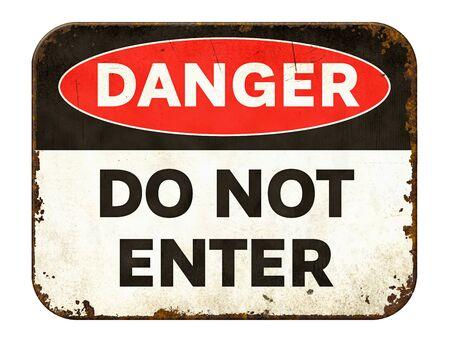 Vintage tin danger sign on a white background - Do not enter 스톡 콘텐츠