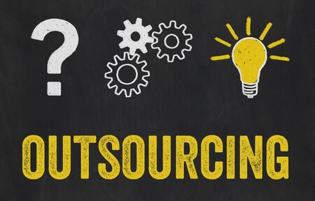 Question Mark, Gears, Light Bulb Concept - Outsourcing Zdjęcie Seryjne