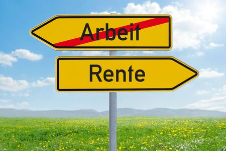 Two direction signs - Work or Retirement - Arbeit oder Rente (german)
