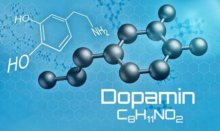 Three-dimensional molecular model of Dopamine - 3d render -  Dopamin (German) Stok Fotoğraf