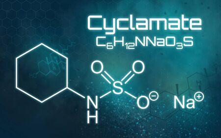 Chemical formula of Sodium cyclamate on a futuristic background