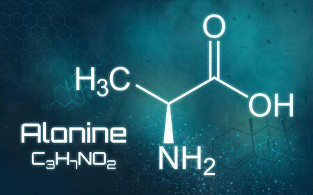 Chemical formula of Alanine on a futuristic background