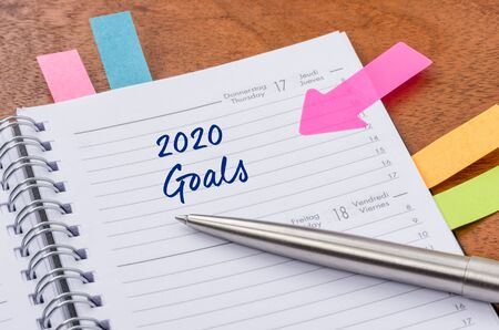 Daily planner with the entry 2020 Goals