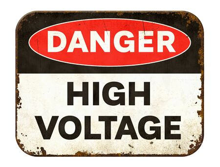 Vintage tin danger sign on a white background - High voltage