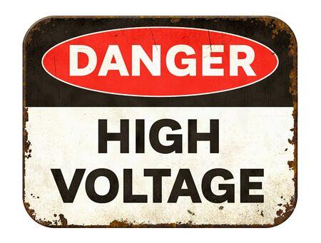 Vintage Zinn Warnschild auf weißem Hintergrund - Hochspannung