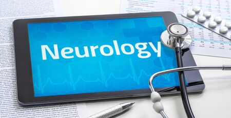 The word Neurology on the display of a tablet