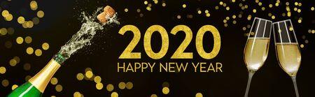 Bottle with champagne glasses 2020 Banco de Imagens
