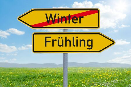 Two direction signs - Winter or Spring - Winter oder Fruehling (german)
