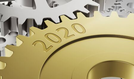 Metal gear wheels with the engraving 2020 - 3d render