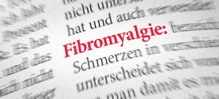 Definition of the word Fibromyalgia in a dictionary - Fibromyalgie (German) Stock Photo