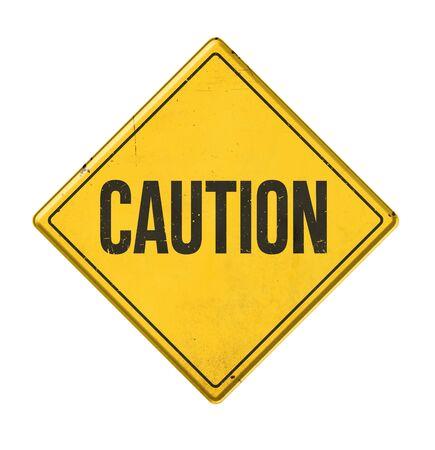 Panneau jaune sur fond blanc - Attention