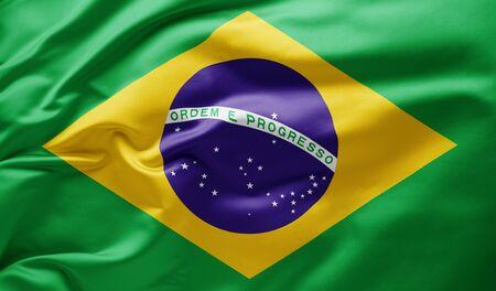 Waving national flag of Brazil Banco de Imagens