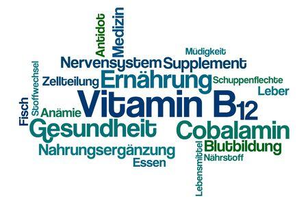 Nube de palabras sobre un fondo blanco - Vitamina B12 (alemán) Foto de archivo