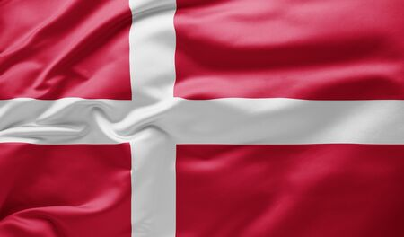 Waving national flag of Denmark
