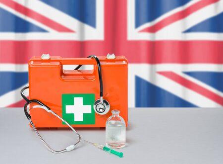 First aid kit with stethoscope and syringe - United Kingdom