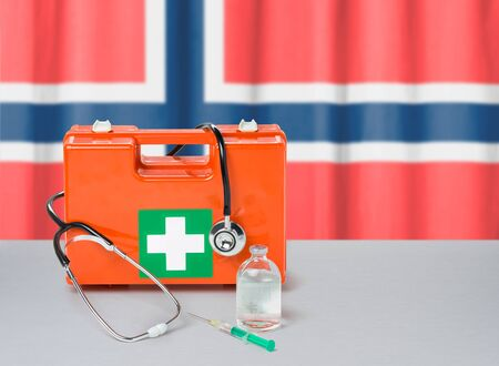 First aid kit with stethoscope and syringe - Norway