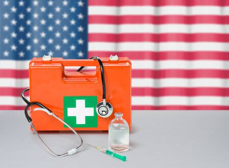 First aid kit with stethoscope and syringe - United States
