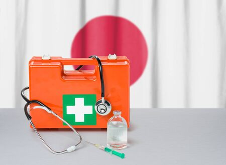 First aid kit with stethoscope and syringe - Japan