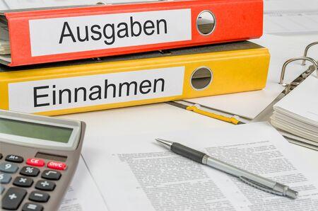 Folders with the german label Ausgaben und Einnahmen - Income and Expenditure Banco de Imagens