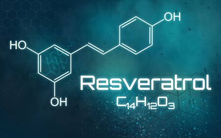 Chemical formula of Resveratrol on a futuristic background