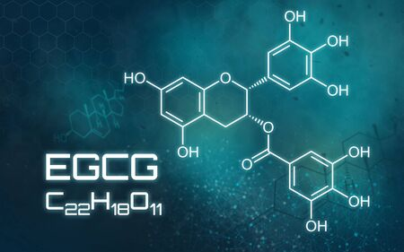 Chemical formula of EGCG on a futuristic background