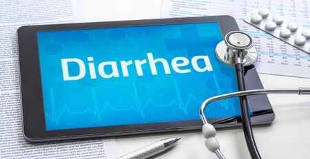 The word Diarrhea on the display of a tablet